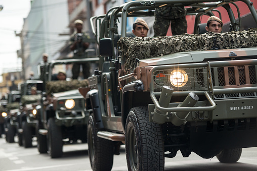 istock Vehicles of the Brazilian army on the streets, civic parade 977855610