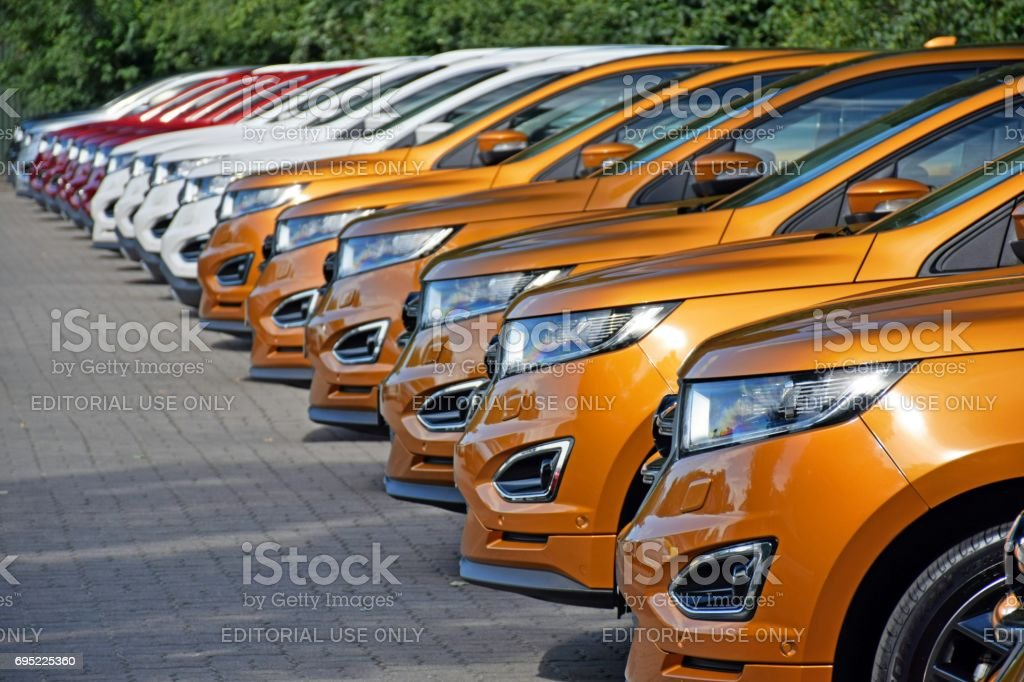 SUV vehicles on the parking stock photo
