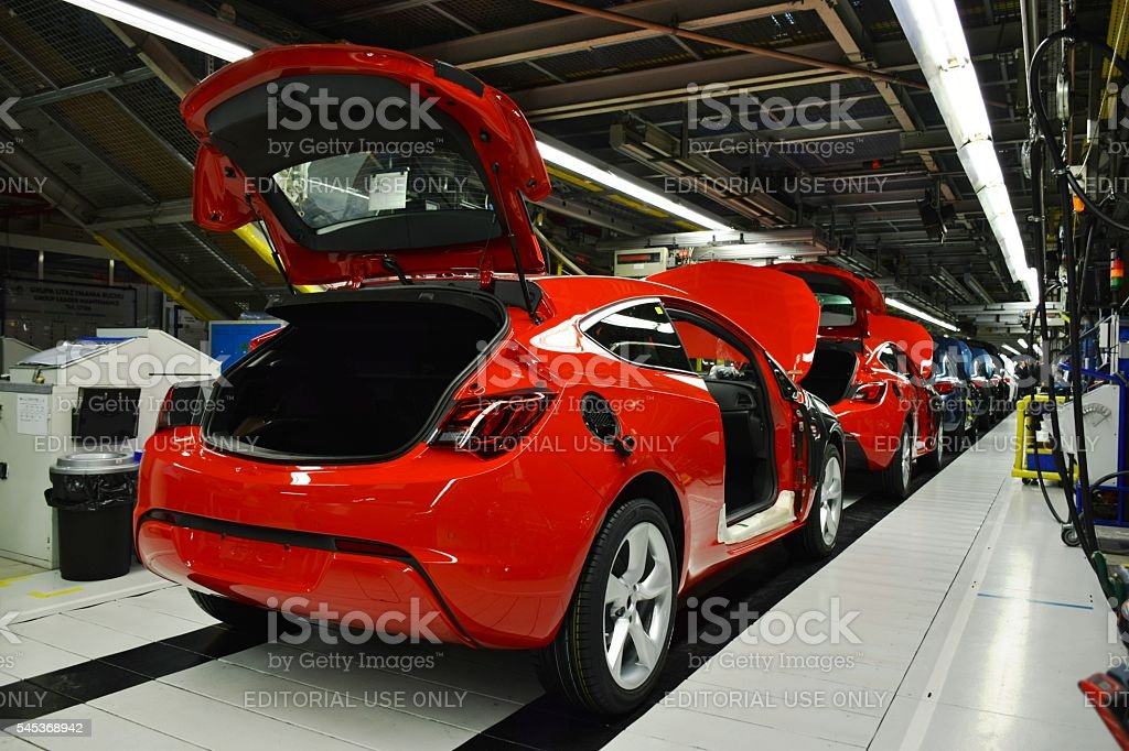 Vehicles on the production line stock photo