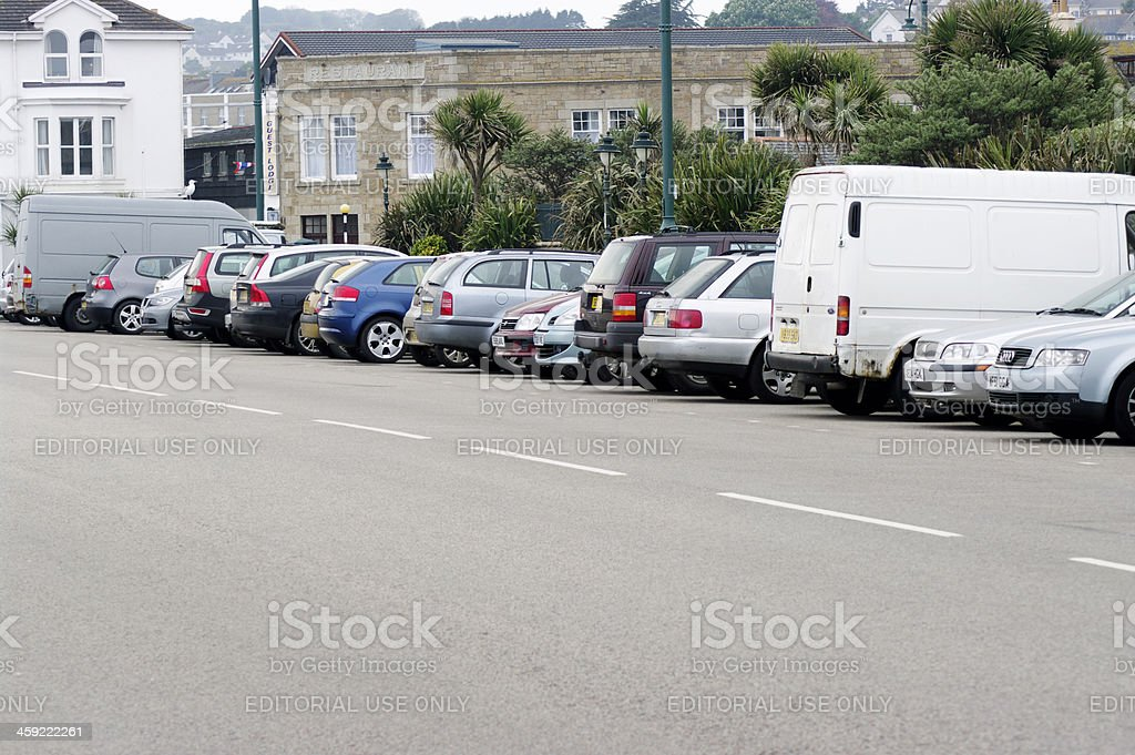 Vehicles Parked At Western Promenade Road Penzance Cornwall royalty-free stock photo