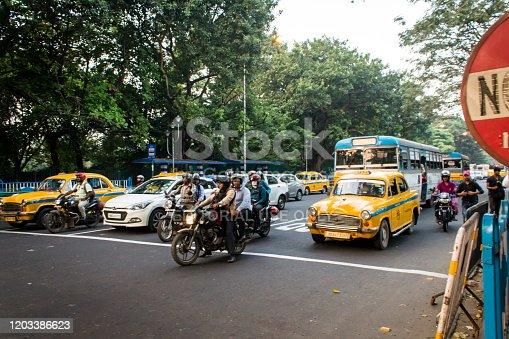 November 29, 2019- Kolkata: Vehicles stopped at a pedestrian crossing in Kolkata stock photo