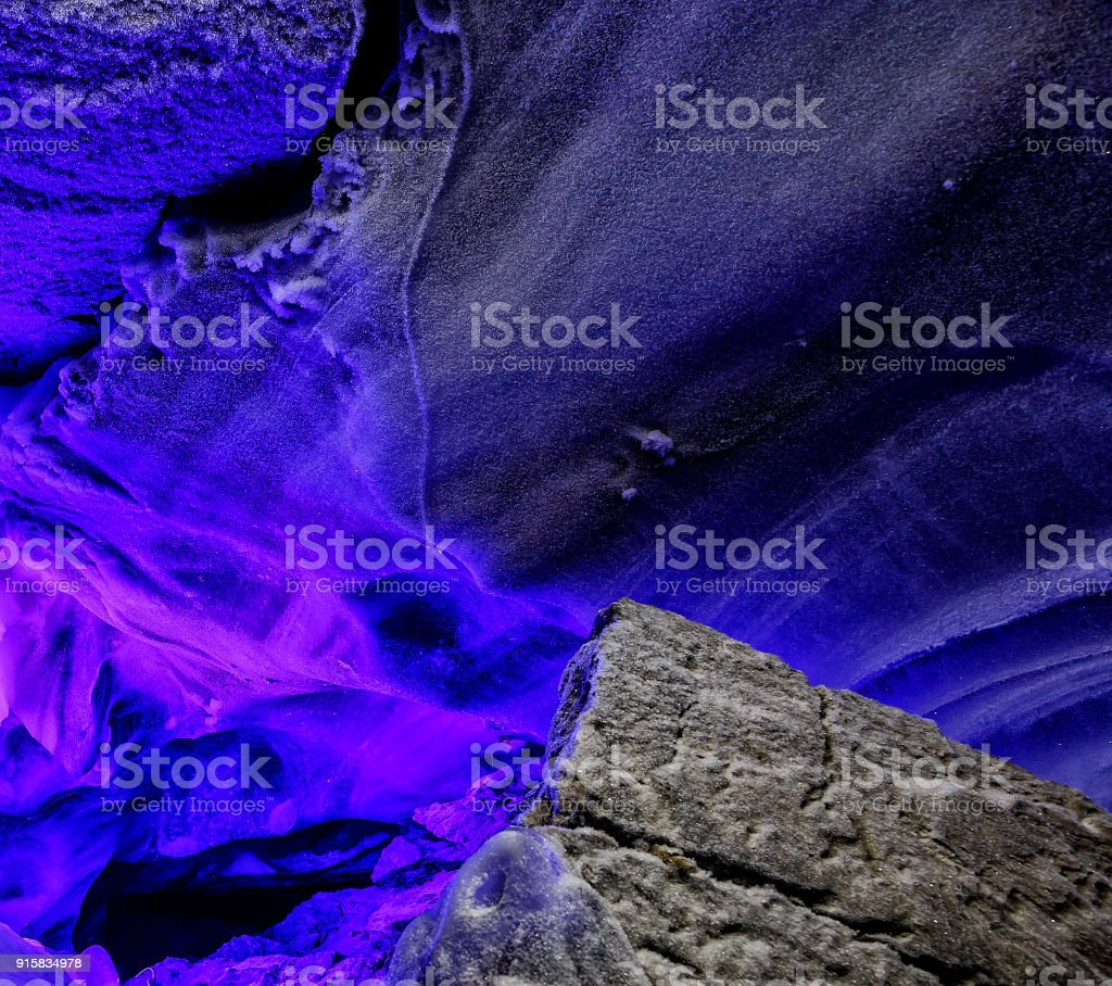 Veil ice water, snowfall. Weird unclear object Sci-fi fantasy cosmic extraterrestrial background stock photo