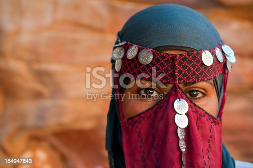 A 24-year-old Bedouin woman outdoors in Petra, Jordan, wearing a traditional veil