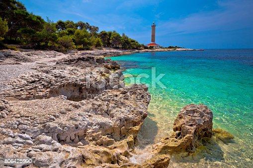 istock Veli Rat lighthouse and turquoise beach view, Dugi Otok island, Dalmatia, Croatia 806425990