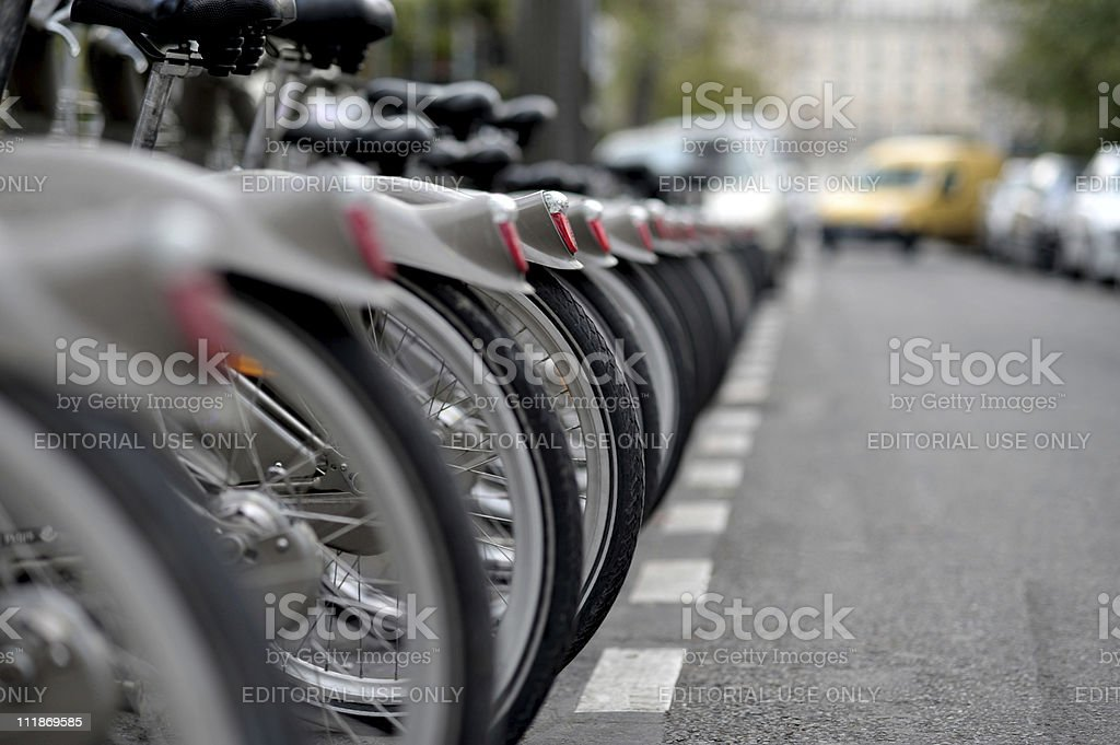 Velib Rental Bicycles Lined up in Paris France stock photo