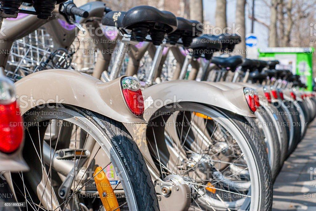 Velib station public bicycle rental in Paris stock photo