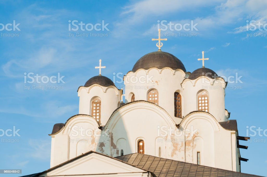 Veliky Novgorod, Russia - closeup of St Nicholas Cathedral domes royalty-free stock photo