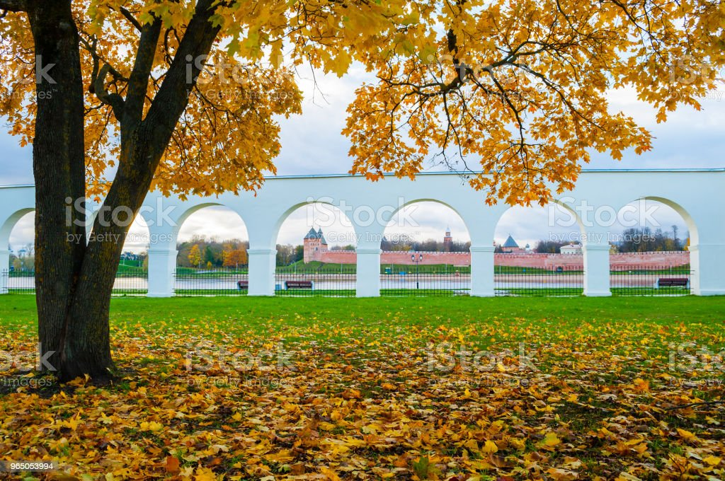 Veliky Novgorod, Russia. Yaroslav Courtyard arcade and Novgorod kremlin fortress royalty-free stock photo