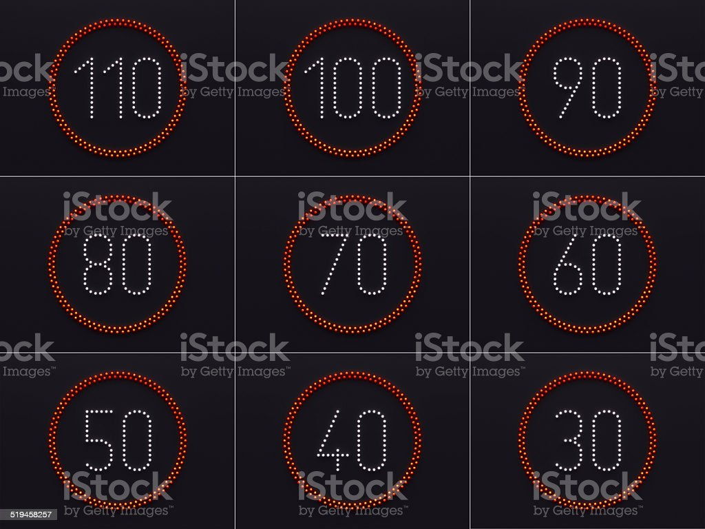 3D velocity control led lights stock photo