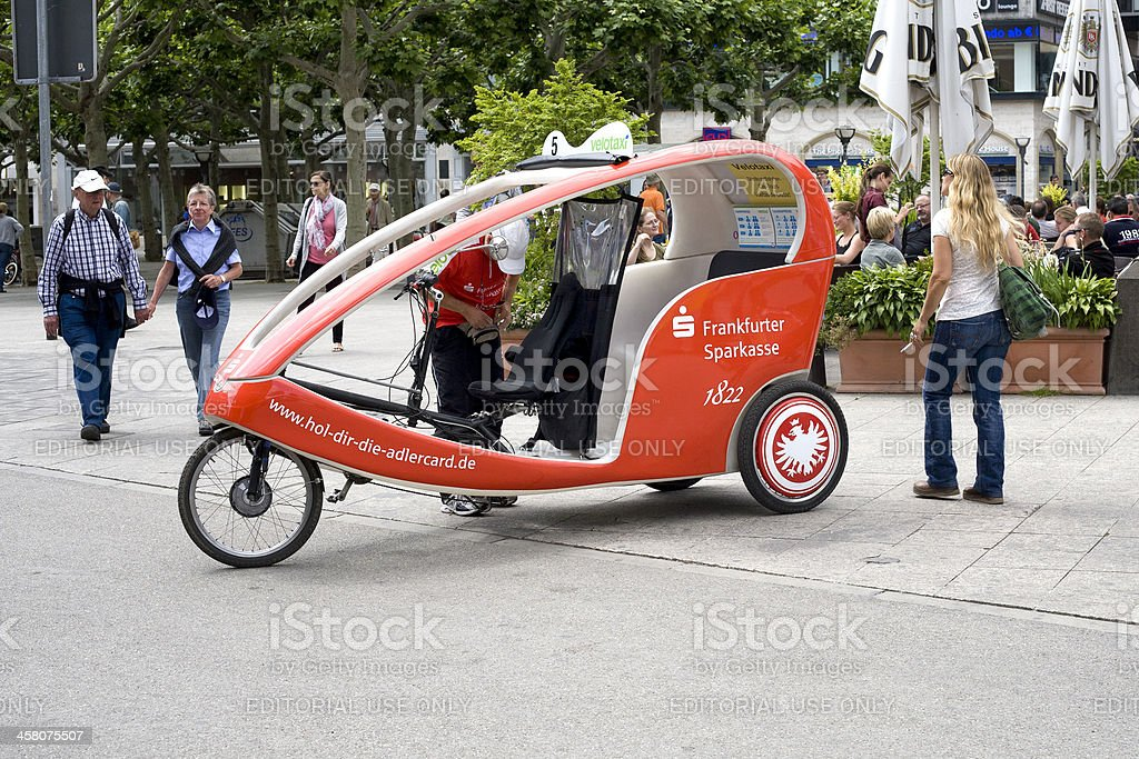 Velotaxi in the city of Frankfurt royalty-free stock photo