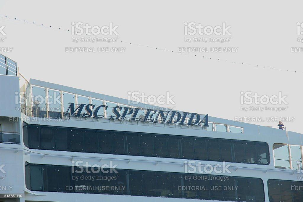 Velsen, The Netherlands - July 2nd, 2015: MSC Splendida, detail stock photo