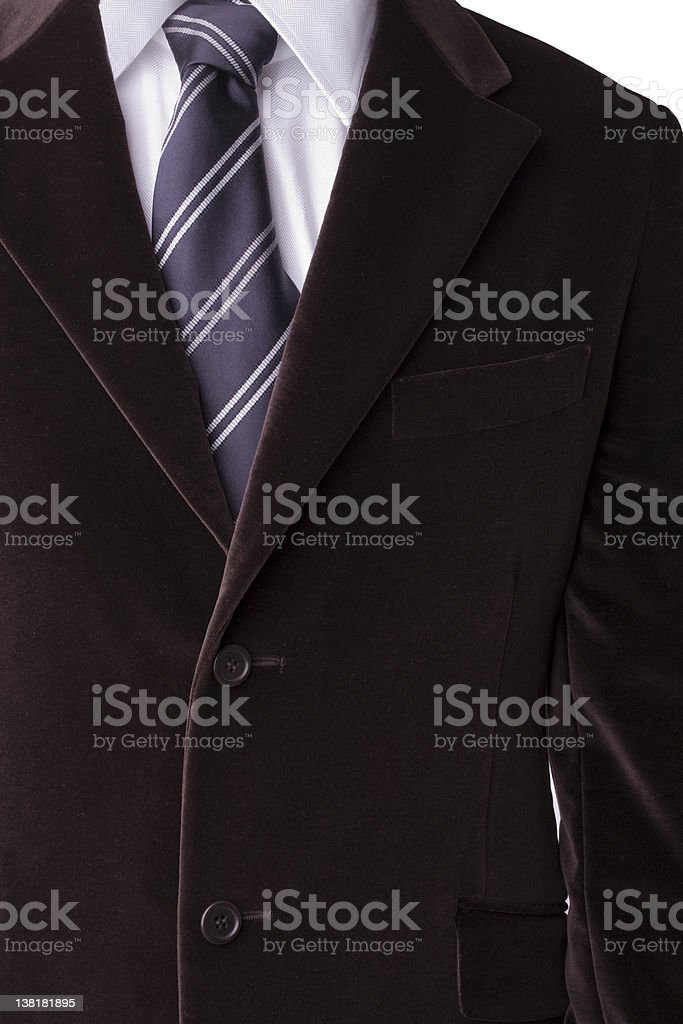 Velvet blazer, shirt and tie with windsor knot royalty-free stock photo