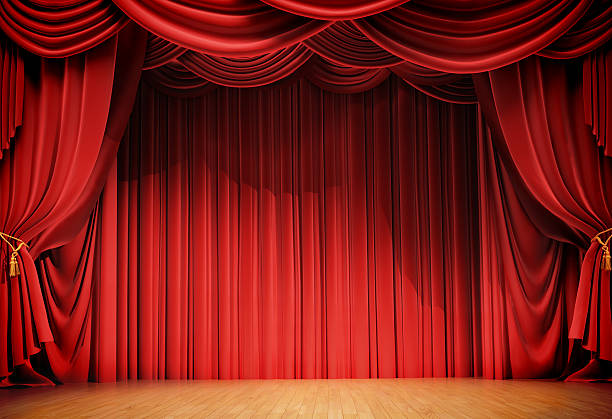 velvet curtains and wooden stage floor - curtain stock pictures, royalty-free photos & images