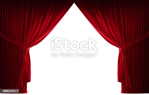 3D realistic stage courtains with a black background