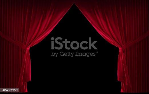 istock Velvet red curtain 484032227