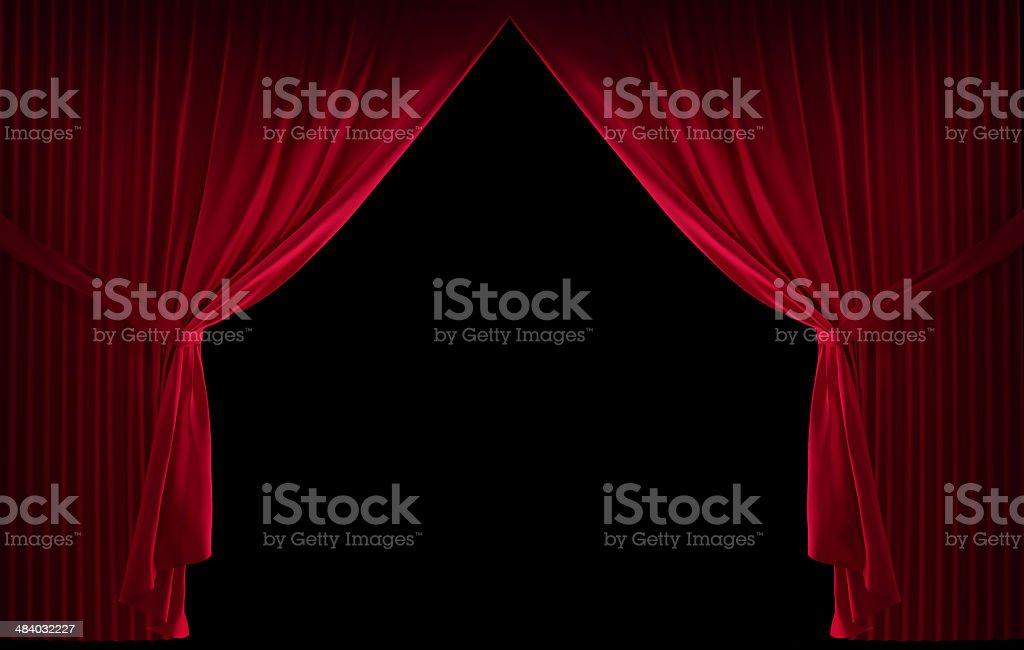 Velvet red curtain stock photo