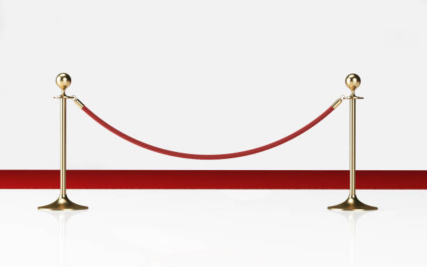 Velvet Rope On White Background Velvet rope on white background. Horizontal composition. Clipping path is included. first class stock pictures, royalty-free photos & images