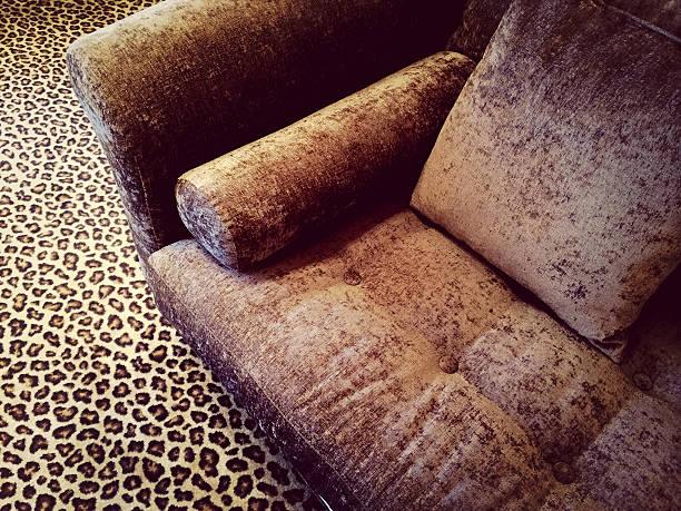 sofa mit samtbezug auf leopard - - geparden bettwäsche stock-fotos und bilder