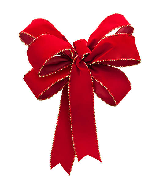 A velvety red and white Christmas bow with white background stock photo
