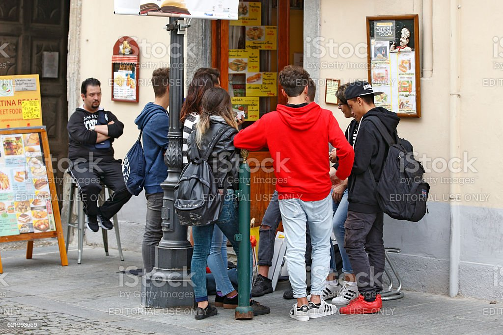 Venaria Reale, Italy - A Group of young tourists stock photo