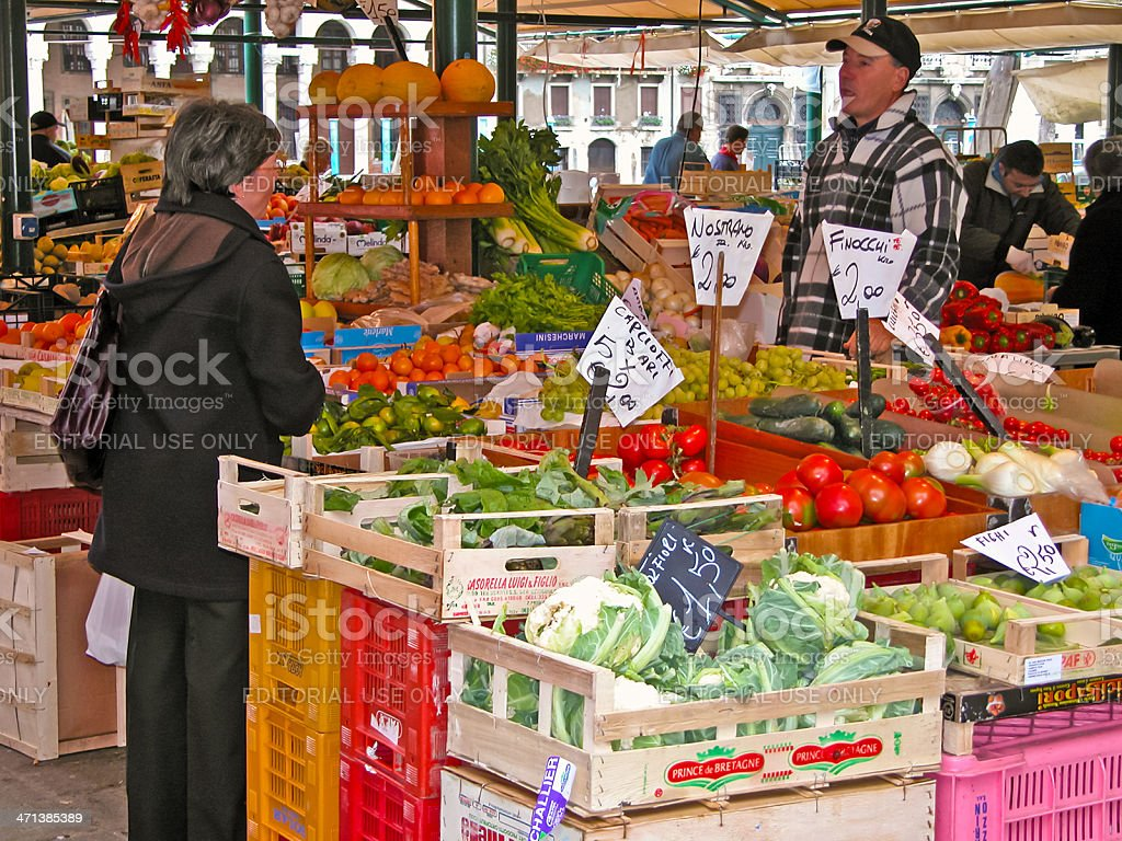 Vendor and customer, Rialto Food Market, Venice stock photo