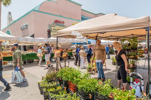 Vendor At Santa Monicas Farmers Market Stock Photo - Download Image Now