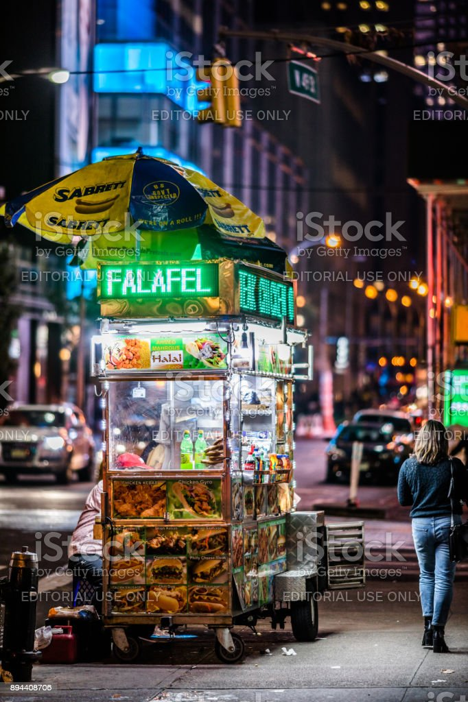 Vendor Cart Near Times Square At Night With Led Lights Selling Fast Food Manhattan New York ...