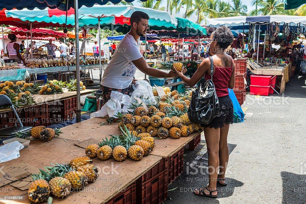 Vendor fresh fruit pineapple stock photo