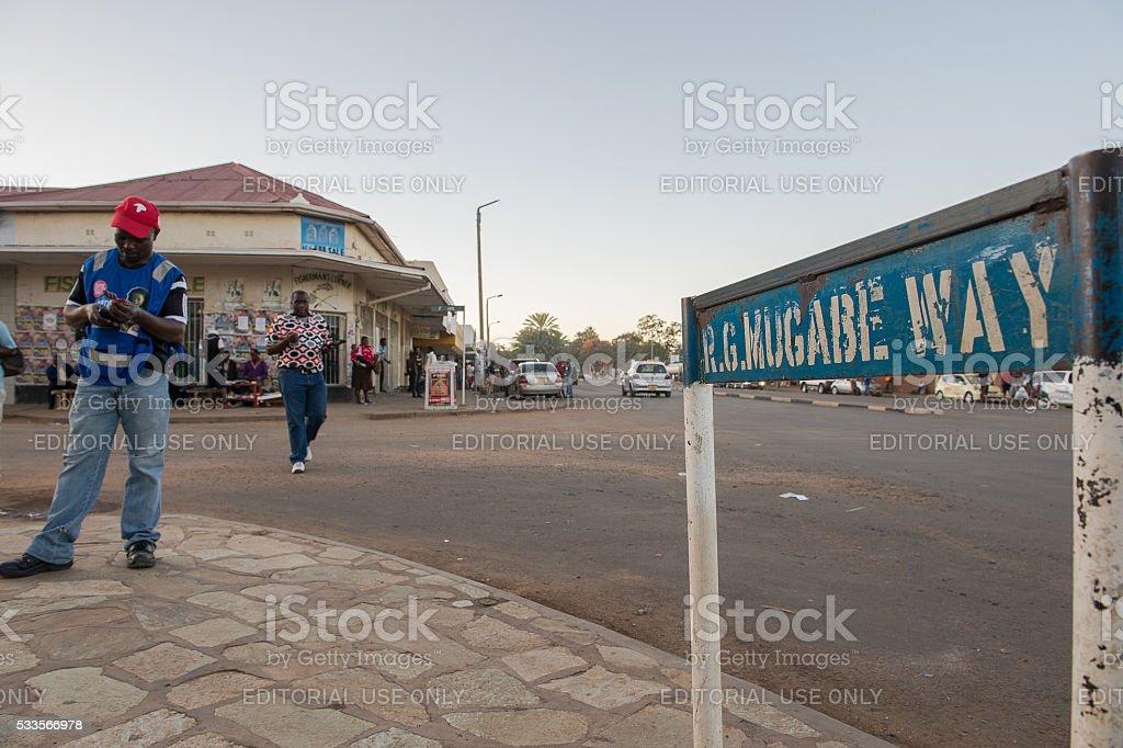 Vendor selling cell phone airtime in Kwekwe, Zimbabwe stock photo