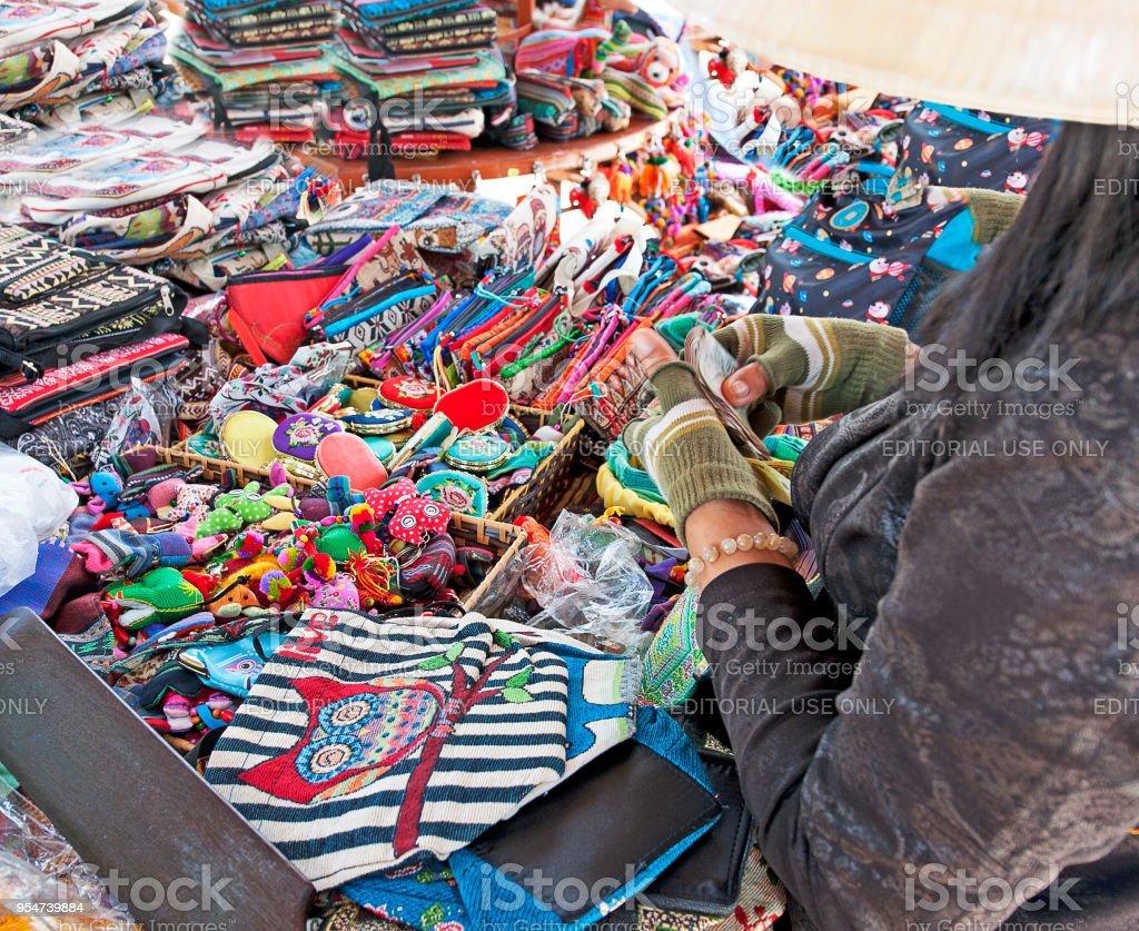Vendor sells wares, Po Nagar Cham towers, Nha Trang Vietnam stock photo