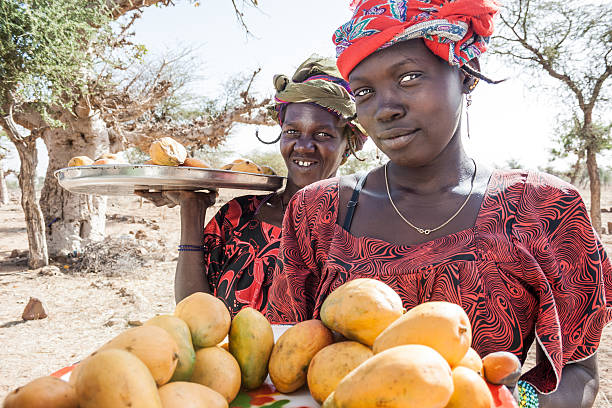 Vendors along the way, Mali, Africa. stock photo