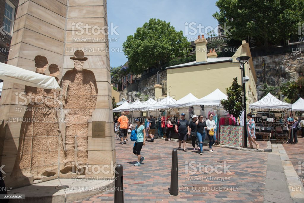 Vendors and Buyers: The Rocks Markets stock photo