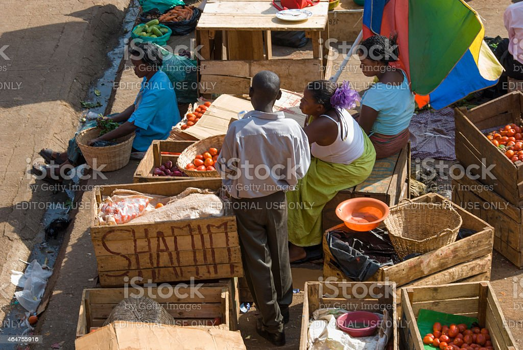 People selling vegetables at the main market in Kampala,