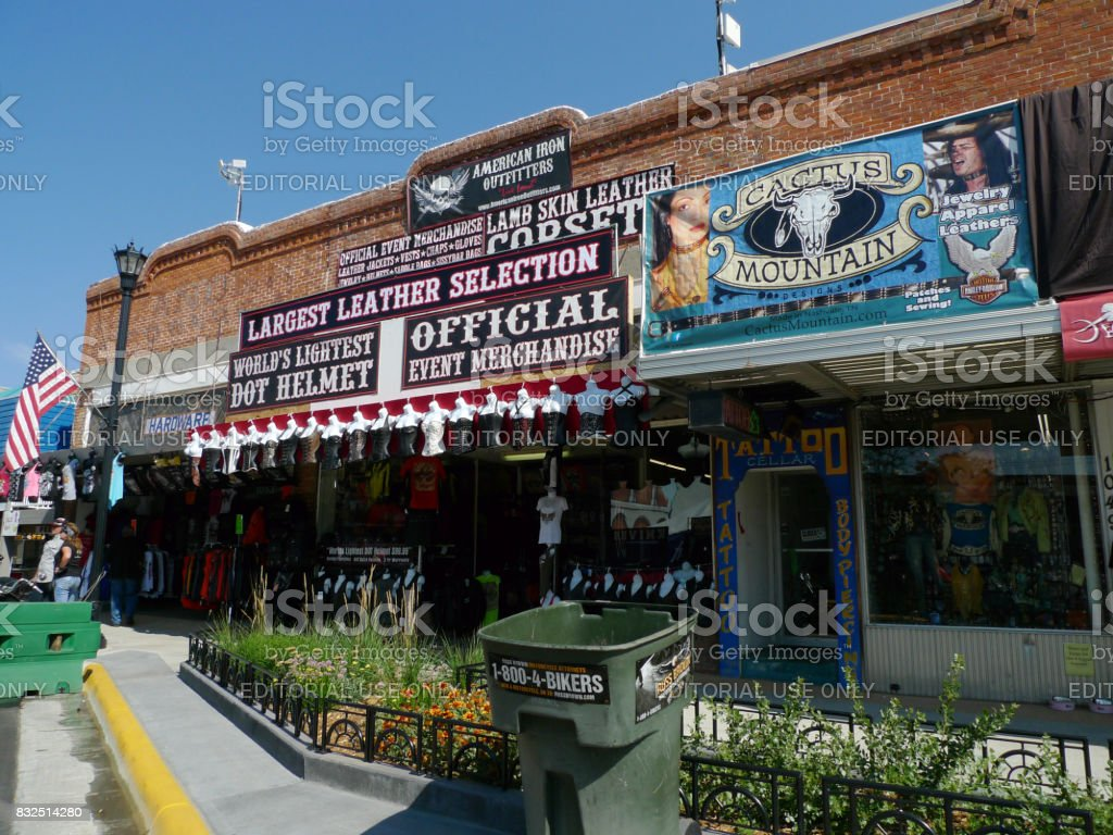 Sturgis, South Dakota - August 4, 2017: Vendors at the 77th Annual Motorcycle Rally stock photo