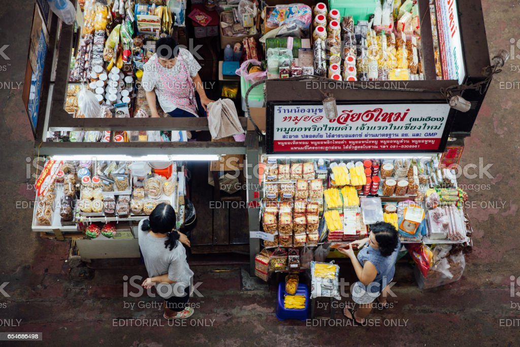 Vendors at the Warorot market, Chiang Mai, Thailand royalty-free stock photo
