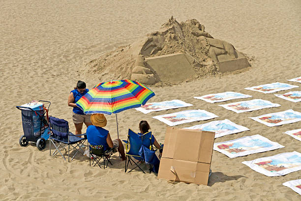 Anbieter mit Strandtücher, Santa Monica, Kalifornien – Foto