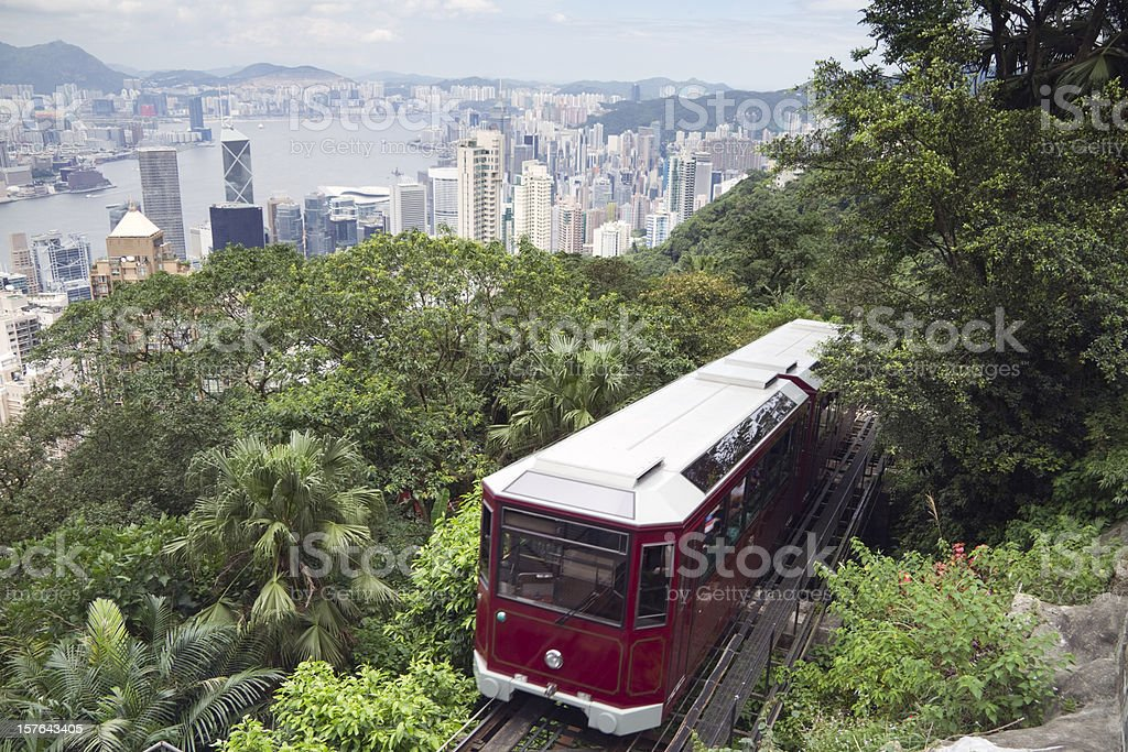 Venerable Peak Tram in Hong Kong royalty-free stock photo