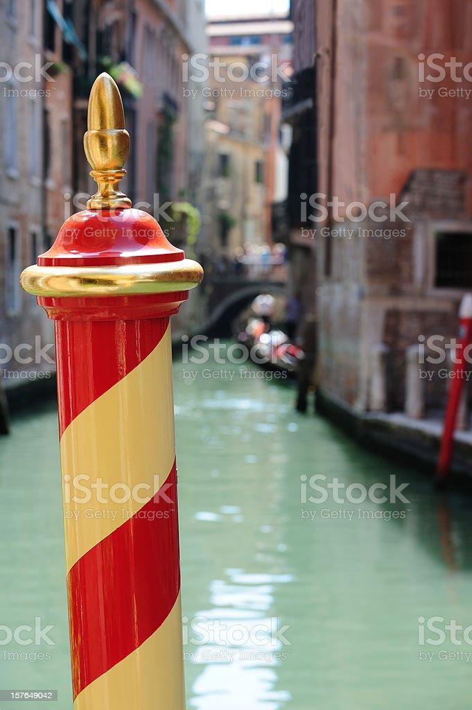 Venetian acorn on top of moore/make fast pole stock photo