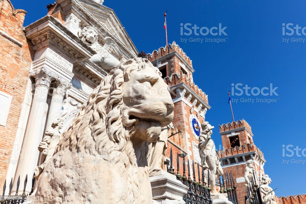 Venetian Arsenal,  complex of former shipyards and armories, stone lion, Venice, Italy stock photo