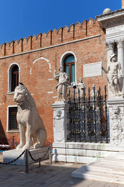 Venetian Arsenal, old shipyard, Venice, Italy Venice, Italy - September 22, 2017: Venetian Arsenal, old shipyard, view on sunny day porta magna stock pictures, royalty-free photos & images