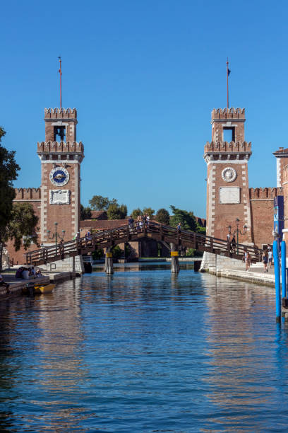 Venetian Arsenal - Venice - Italy Entrance to the Venetian Arsenal, a complex of former shipyards and armories clustered together in the city of Venice in northern Italy. porta magna stock pictures, royalty-free photos & images
