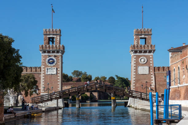 Venetian Arsenal - Venice - Italy Entrance to the Venetian Arsenal, a complex of former shipyards and armories clustered together in the city of Venice in northern Italy porta magna stock pictures, royalty-free photos & images