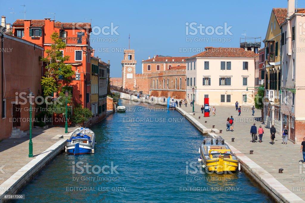 Complexo do Arsenal de Veneza, Fondamenta Arsenale, dos antigos estaleiros e arsenais, Veneza, Itália - foto de acervo