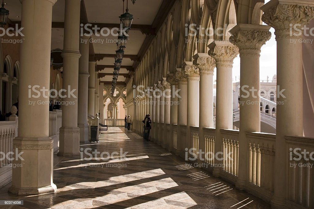 Venetian Balcony Columns and Arches in Las Vegas royalty-free stock photo