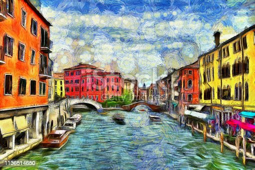 Picturesque view of Venetian canal with moving boats, digital imitation of Van Gogh painting style. Colorful old medieval houses over a canal in Venice, Italy.