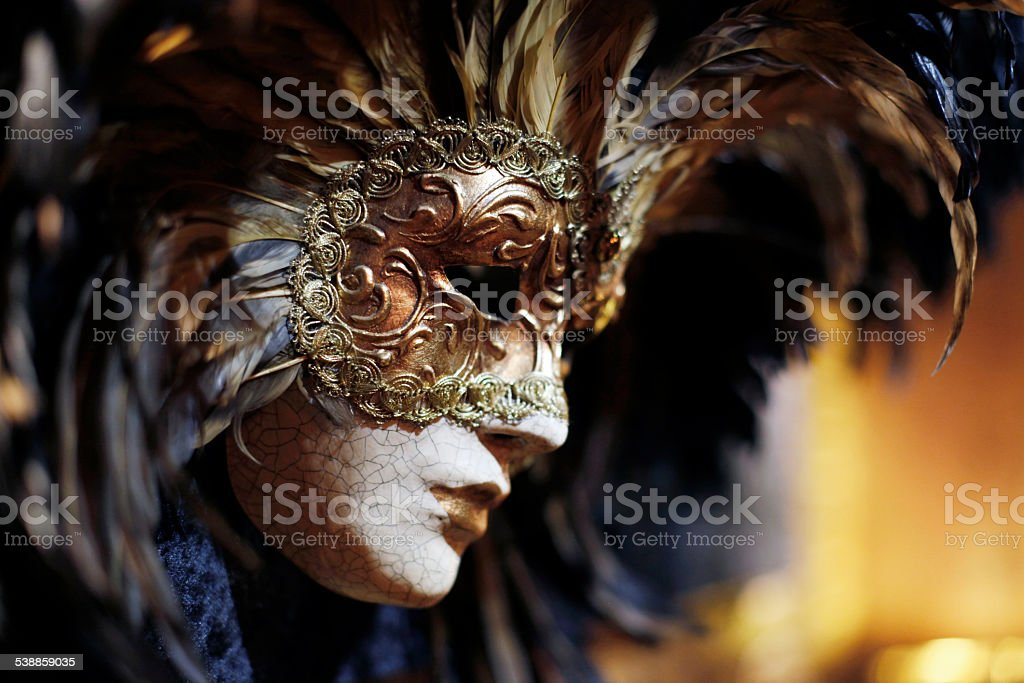 venetian carnival mask with feathers stock photo