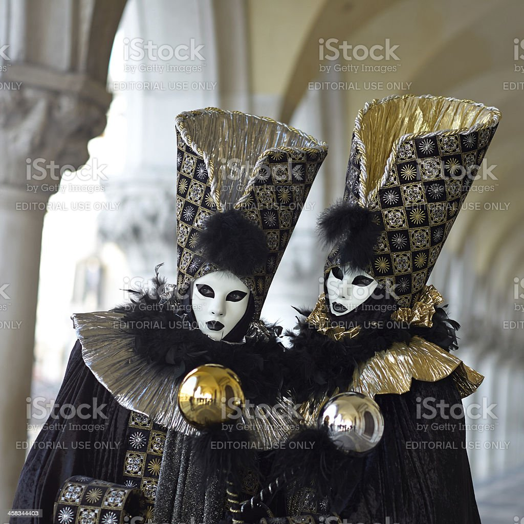 Venetian costume attends Carnival of Venice. royalty-free stock photo