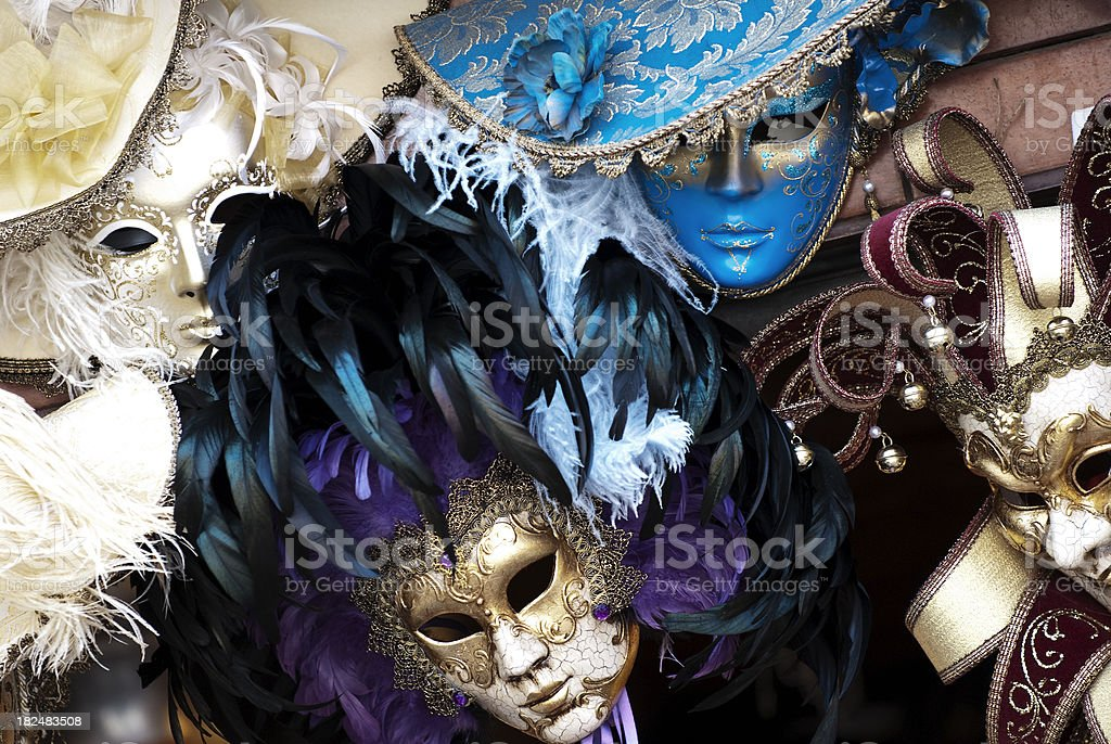 Venetian Face Mask with Feathers,Carnival royalty-free stock photo