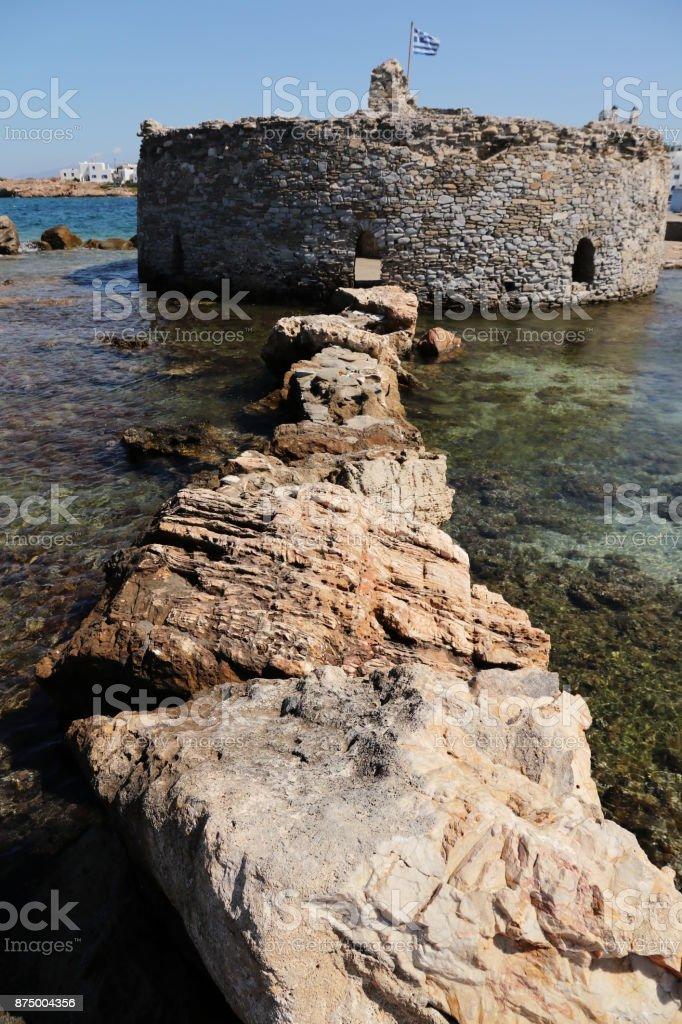Venetian fortress in Naoussa town, Paros island, Greece stock photo
