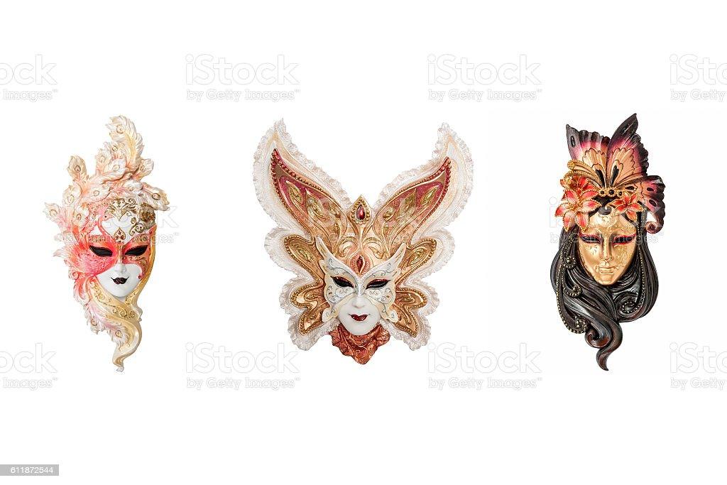 Venetian full-face masks for masquerade stock photo